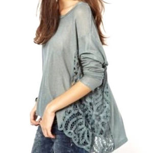 Free People Love Me Do Pullover Crochet Tunic Top